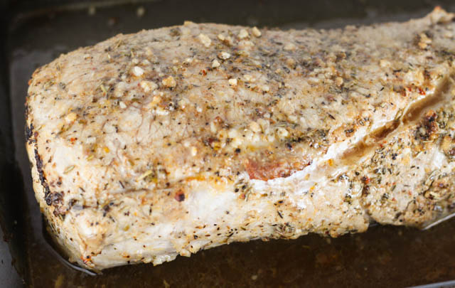 This Rosemary Garlic Pork Loin is a roasted pork loin with olive oil and herbs that will make your house smell amazing and has great flavor!