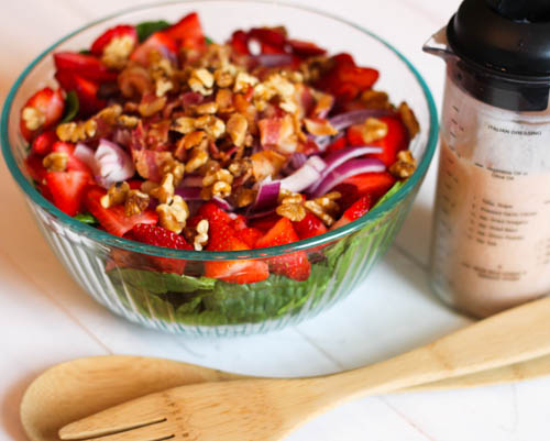 Strawberry Bacon Spinach Salad, a quick and easy salad recipe that has a great tasting homemade dressing.