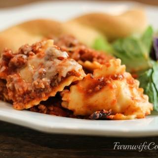 Slow Cooker Cheesy Ravioli Casserole