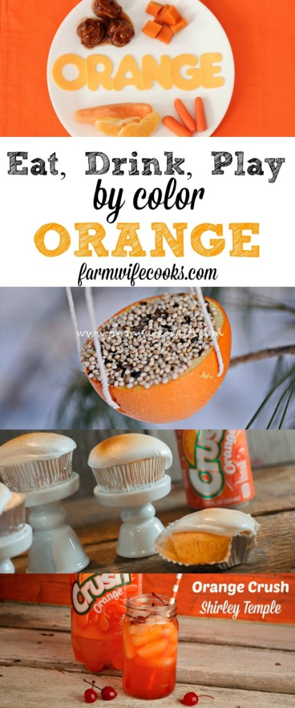 The Ultimate Guide to celebrating the color orange! Eat, Drink and Play by color. Easy orange meal ideas and fun craft to help kids try new foods and learn their colors!
