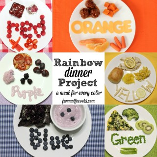 A fun project to help your little ones learn their colors, letters and try new foods! A red, orange, yellow, green, blue and purple meal perfect for celebrating colors!