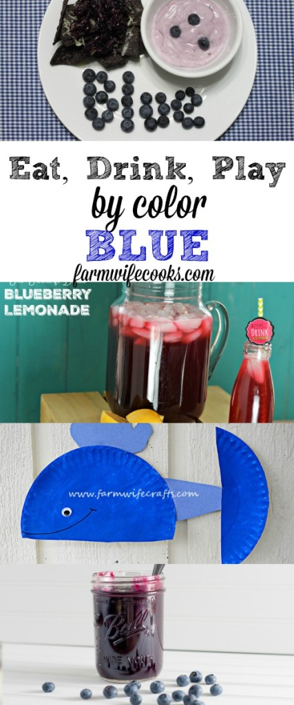 The Ultimate Guide to celebrating the color blue! Eat, Drink and Play by color. Easy blue meal idea and fun craft to help kids try new foods and learn their colors!
