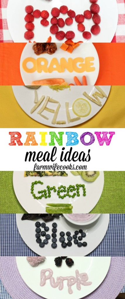 Rainbow Meal Ideas. A dinner for every color of the rainbow! Perfect way to celebrate and learn about colors.