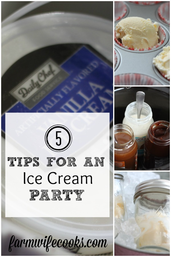 Tips to make your ice cream party a success from how to get your ice cream the perfect temperature to scoop and cute individual serving ideas so the work can be done before the party! Must read if you going to have an ice cream party!