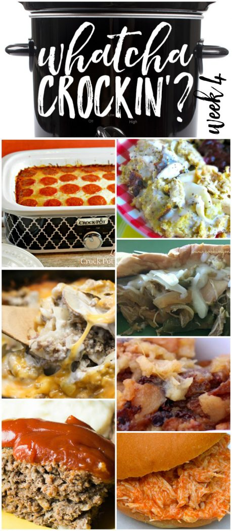 This week's Whatcha Crockin' crock pot recipes include Crock Pot Chicken and Dressing, Wonderful Meatloaf Recipe, Sausage Potato Casserole, Low Carb Crock Pot Pizza Casserole, Slow Cooker Buffalo Chicken Sandwiches, Slow Cooker Chicken Cheesesteaks, Crock Pot Apple Brown Betty and more!