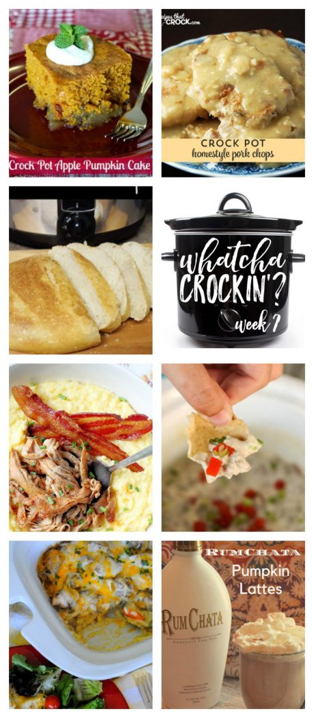 This week's Whatcha Crockin' crock pot recipes include Artisan Bread, Crock Pot Chicken Veggie and Rice Casserole, Homestyle Crock Pot Pork Chops, Crock Pot Apple Pumpkin Cake, Sausage Dip, Slow Cooker Apple Butter Glazed Pork Tenderloin, Crock Pot Pumpkin Lattes and more!