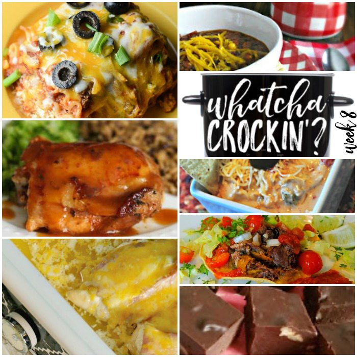 This week's Whatcha Crockin' crock pot recipes include Kay's Blue Ribbon Crock Pot Chili, Crock Pot Spicy Chicken Queso Dip, Crock Pot Bacon Ranch Chicken, Beef Tostadas, Honey Garlic Chicken and Gravy, Slow Cooker Fudge (made with honey), Mexican Lasagna and more!