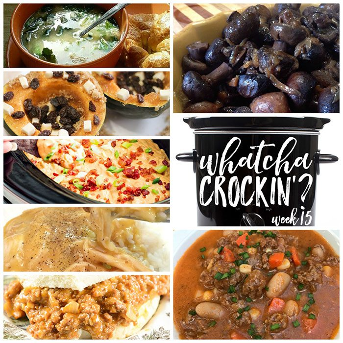 This week's Whatcha Crockin' crock pot recipes include Kickin' Cowboy Queso Dip, Beef Bean Slow Cooker Soup, Crock Pot Sloppy Joe Cheeseburgers, Crock Pot Mushrooms and Onions, Slow Cooker Buttery Acorn Squash, Slow Cooker Chicken Spinach and Orzo Soup, Electric Slow Cooker Cheesy Chicken and Rice and much more!