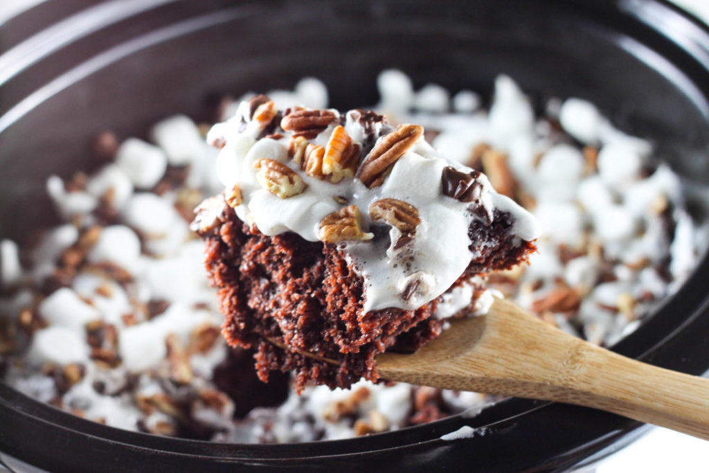 This Rocky Road Chocolate Spoon Cake is made in the crock pot and a chocolate lovers dream!