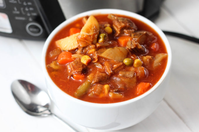 This Vegetable Beef Soup is an easy, hearty, crock pot recipe that is perfect for fall or winter!