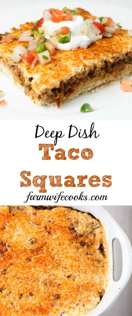 Deep Dish Taco Squares are an easy ground beef casserole recipe that will kick up your families Taco Tuesday.