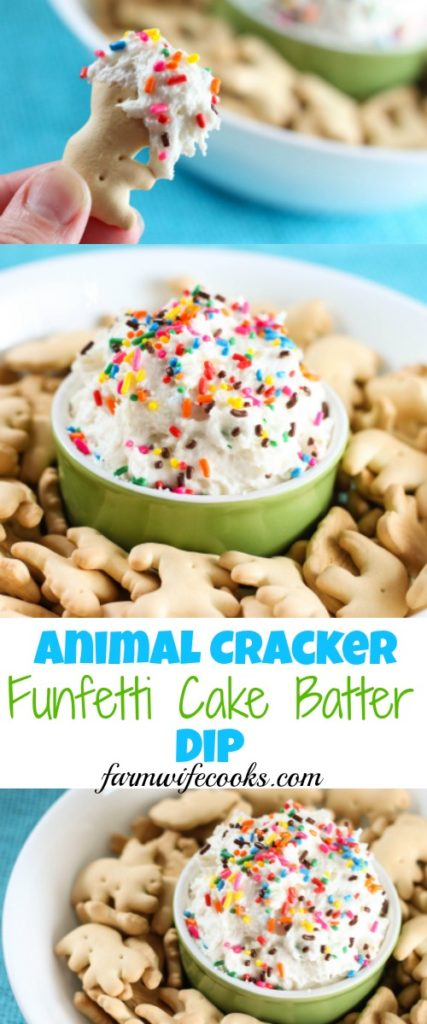 This Animal Cracker Funfetti Cake Batter Dip would make the perfect recipe for a party or family gathering and would also make a fun after school snack.