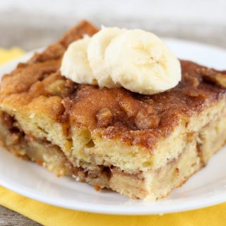 This Banana Cream Coffee Cake is a yummy, easy recipe that uses a cake mix as the base. New recipe to use up your ripe bananas!