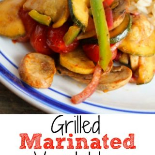 Grilled Marinated Vegetables are so easy and so good. Mushrooms, tomatoes, green peppers, red onion, zucchini and yellow squash in a olive oil, lemon juice and soy sauce marinade.
