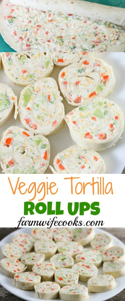 Veggie Tortilla Roll Ups have an irresistible ranch flavored cream cheese filling that make a great after school snack or appetizer.