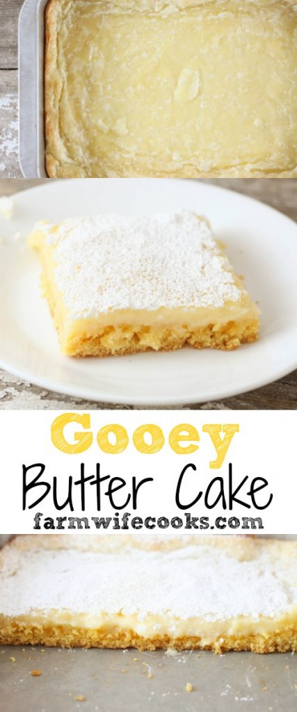 Are you looking for an easy cake recipe? This Gooey Butter Cake is lick your fingers good and only has 5 ingredients.