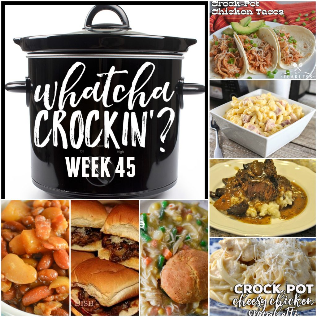 This week's Whatcha Crockin' crock pot recipes are all about comfort food, including 3 Envelope Crockpot Roast Beef Sliders, Crock Pot Macaroni and Cheese with Ham, Crock Pot Baked Beans with Pineapple Chunks, Red Wine Crock Pot Beef Roast with Mushrooms and Onions, Crock Pot Cheesy Chicken Spaghetti, Crock Pot Chicken Pot Pie, Crock Pot Chicken Tacos, Ultimate Creamed Corn Slow Cooker and many more!