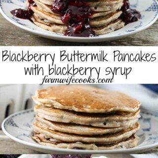 Are you looking for new breakfast ideas? These Blackberry Buttermilk Pancakes with Blackberry Syrup are an easy homemade recipe that everyone will love!