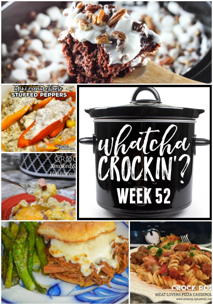 This week's Whatcha Crockin' crock pot recipes include Crock Pot Meat Lovers Pizza Casserole, Rocky Road Chocolate Spoon Cake, Crock Pot Smoked Sausage and Hashbrown Casserole, Crock Pot French Dip Au Jus Sandwiches, Crock Pot Mini Cream Cheese Stuffed Peppers, Slow Cooker Sausage Tortellini Soup, Slow Cooker Sticky Asian Drumsticks and much more!