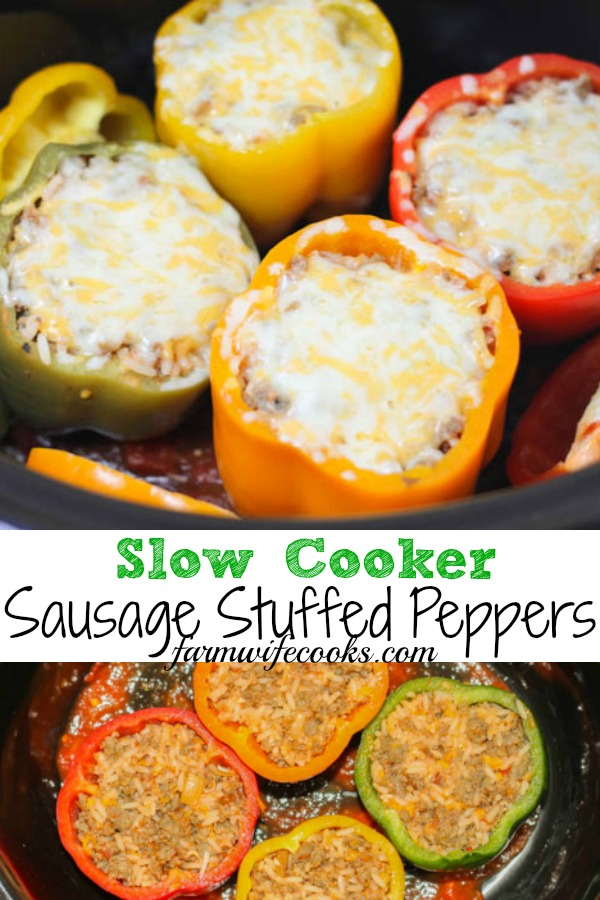 Are you looking for a great crock-pot freezer cooking recipe? Look no further! This Slow Cooker Sausage Stuffed Peppers recipe is a keeper!