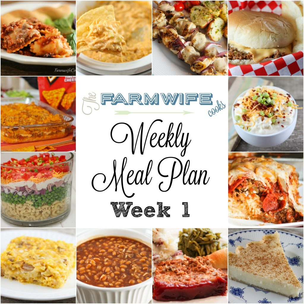 Welcome to this week's meal plan I have a great group of recipes for you this week including King's Hawaiian Roll Ham Sandwiches, Taco Bake, Slow Cooker Cheesy Ravioli Casserole, Loaded Baked Potato Soup, Deluxe Biscuit Pizza Bake, Greek Chicken Kabobs, Layered Pasta Salad, Baked Beans, Meatloaf, Red Smashed Potatoes, Green Beans, Hashbrown Breakfast Casserole, Butterscotch Pecan Rolls, Tavern Sandwiches, Cubed Beef Sandwiches, No Bake Peanut Butter Cheerio Bars, Crock Pot Chicken Enchilada Dip, Crock Pot Chocolate Lava Cake and Sugar Cream Pie.