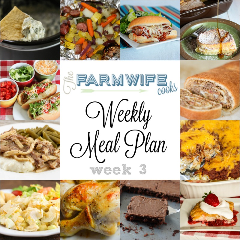 Welcome to this week's meal plan I have a great group of recipes for you this week including Bacon Cheeseburger Roll-Up, Taco Joes, Sour Cream Noodle Bake, Baked Chicken Legs, Macaroni and Cheese, Crock Pot Pizza Soup, Grilled Sausage and Veggie Foil Packs, Beef and Noodles, Overnight Vanilla French Toast Casserole, Caramel Monkey Bread, Hot Chicken Salad, Meatball Hoagies, Spinach and Artichoke Dip, Sausage and Cheese Stuffed Jalapenos, Strawberry Rhubarb Dump Cake and Texas Sheet Cake.