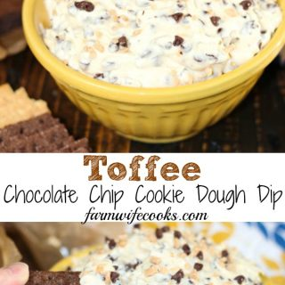 This easy dip recipe will quickly become a family favorite!Toffee Chocolate Chip Cookie Dough Dip is cookie dough that is safe to eat and oh so good!