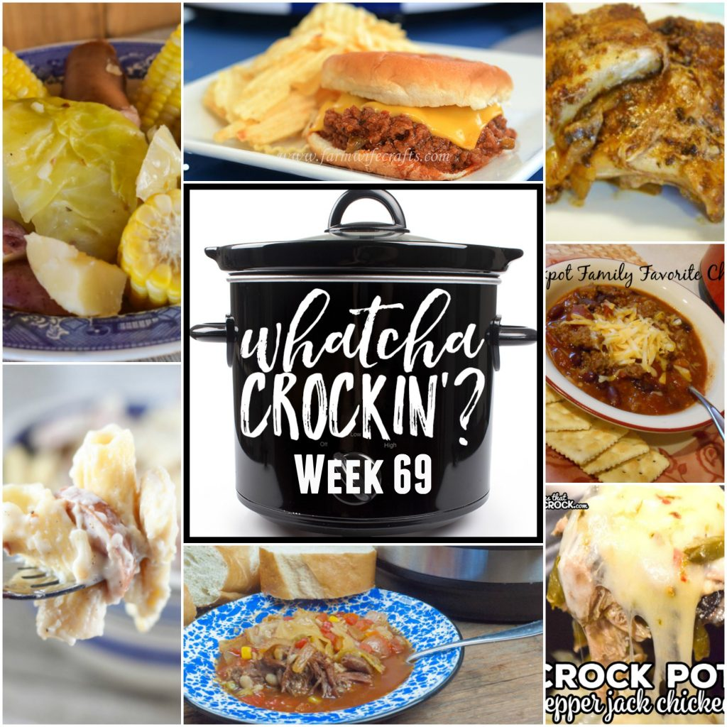 This week's Whatcha Crockin' crock pot recipes include Crock Pot Sloppy Joes, Smoked Sausage and Cheese Pasta Bake, Instant Pot Boiled Kielbasa Dinner, Crock Pot Pepper Jack Chicken, Slow Cooker Spare Ribs, Instant Pot Beef Vegetable Soup, Crock Pot Family Favorite Chili and more!