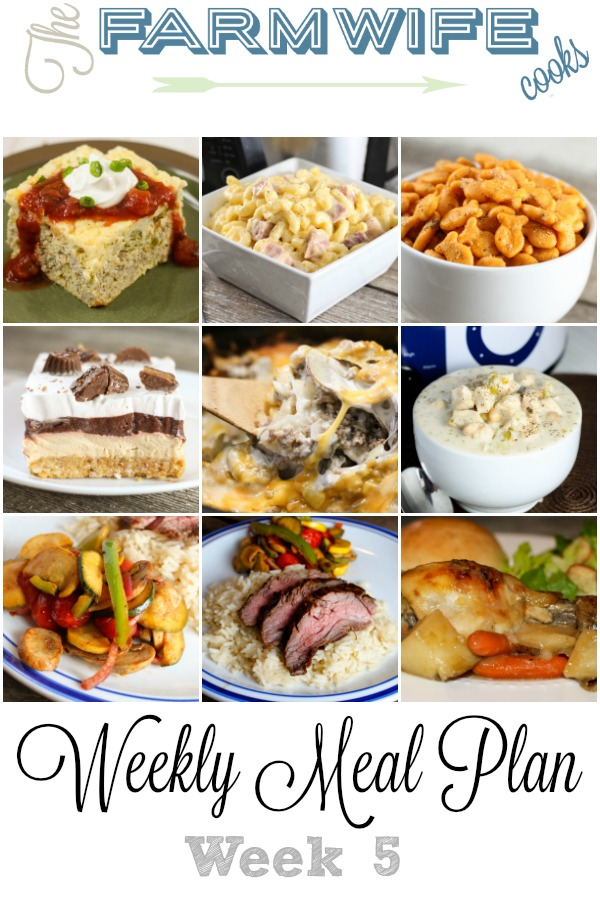 Welcome to this week's meal plan I have a great group of recipes for you this week including No Fuss Chicken Dinner, Tortilla Chip Taco Bake, Macaroni and Cheese with Ham, Creamy White Chicken Chili, Crock Pot Pizza Bake, Asian Flank Steak, Sausage Potato Casserole, Banana Cream Coffee Cake, Sante Fe Omelet Casserole, Brats, Walking Tacos, Sausage Dip, Zesty Seasoned Goldfish Crackers, No Bake Peanut Butter Delight and Grandma's Rhubarb Streusel Dessert.