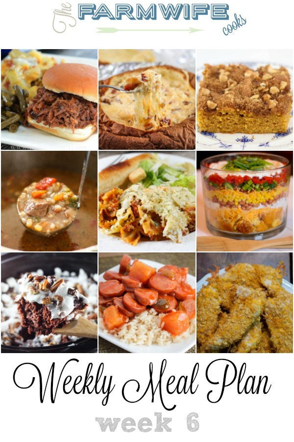 Welcome to this week's meal plan I have a great group of recipes for you this week including; Sweet and Sour Smoked Sausage, Crock Pot Tex Mex Chicken Tacos, Creamy Herbed Chicken, Beef Barley Soup, Cheesy Chicken Tenders, Yum Yum Cheesy Potatoes, Cornbread Salad, Crock Pot Lasagna Casserole, Butterscotch Coffee Cake, Crock Pot Biscuits and Gravy Casserole, Tuna Salad Coneys, Crock Pot BBQ Beef, Hawaiian Bread Cheese Dip, Crock Pot Chex Mix, Rocky Road Chocolate Spoon Cake and Homemade Cherry Pie.