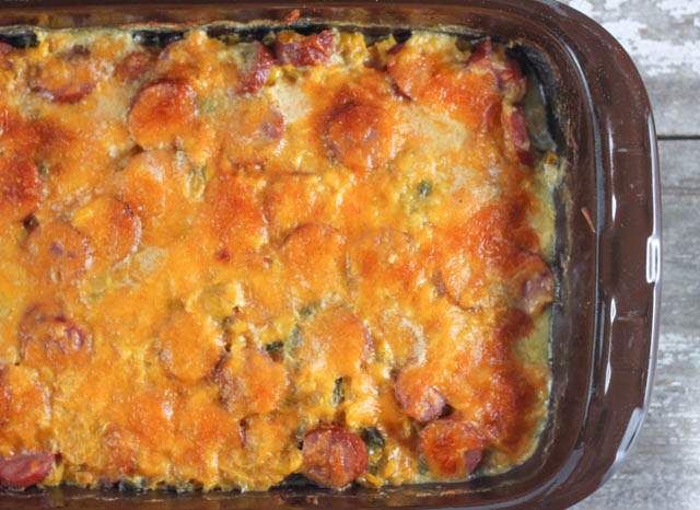 Are you looking for a hearty casserole recipe? This Cheesy Smoked Sausage Vegetable Casserole is easy to toss together and a great weeknight dinner.
