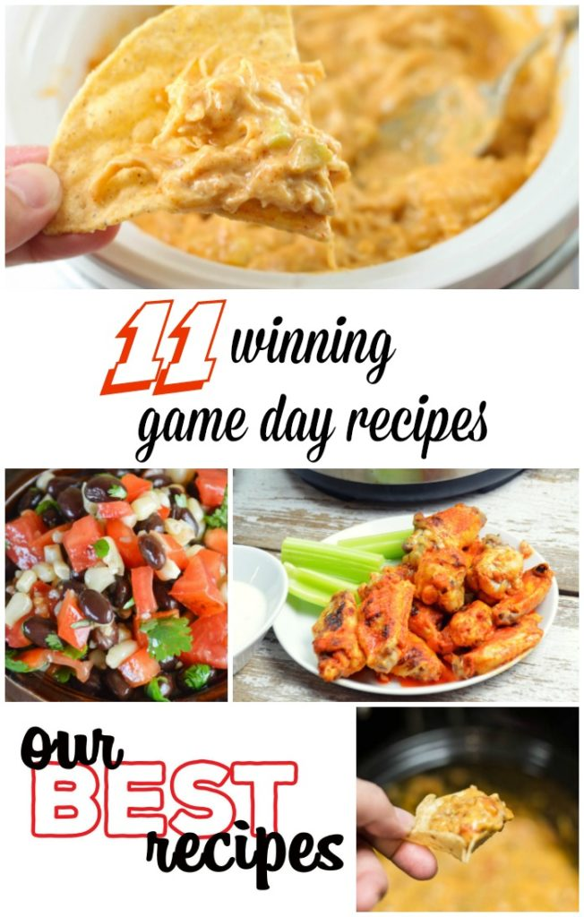 Are you looking for some new recipes for game day? These 11 Winning Game Day Recipes are perfect for tailgating or watching the big game at home! This list includes great appetizers, crock pot dips, wing ideas and more!