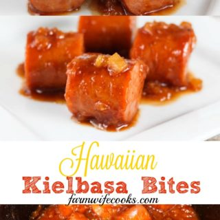 Slow cooker Hawaiian Kielbasa Bites are the perfect appetizer for game day or holiday potluck. An easy recipe made with Kielbasa sausage, pineapple, BBQ sauce, brown sugar and spices.