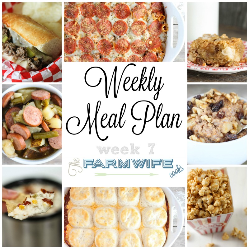 Welcome to this week's meal plan I have a great group of recipes for you this week including; Cheeseburger Casserole, One Skillet Chicken Rotel and Rice, Cheesy Garlic Bread, Tuscan Sausage and White Bean Soup, Pepperoni Pizza Pasta Casserole, Handheld Sloppy Joes, Smoked Sausage, Green Beans and Potatoes, Apple Pie Oatmeal, Crock Pot Sausage Egg Casserole, Italian Beef Sandwiches, Cubed Steak Sandwiches, Caramel Corn, Creamy Hot Bacon Corn Dip, Caramel Apple Coffee Cake and Double Chocolate Zucchini Cake.