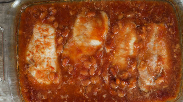 This Pork Chops and Baked Beans recipe is an easy, baked, boneless pork chop recipe that is perfect for busy nights.