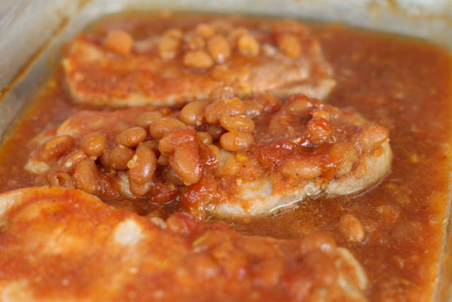 pork chop recipes with baked beans Pork Chops and Baked Beans