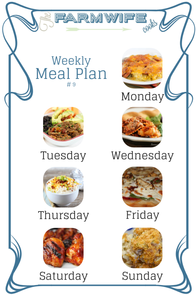 Welcome to this week's meal plan I have a great group of recipes for you this week including; Cheesy Smoked Sausage Vegetable Casserole, Crock Pot Chipotle Shredded Beef, Slow Cooker Cheesy Ravioli Casserole, Loaded Baked Potato Soup, Chicken Alfredo Pizza, Grilled BBQ Chicken, Grandma's Chicken and Rice Casserole, Crock Pot French Toast Casserole, Homemade Pancakes, Cranberry Lettuce Salad, Italian Beef Sandwiches, Crockpot Cornbread Chex-Mix, Hawaiian Kielbasa Bites, Banana Split Dessert and Toffee Chocolate Chip Cookie Dough Dip