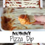 Are you looking for a fun appetizer for Halloween? This Mummy Pizza Dip will be a hit with your ghosts and goblins!