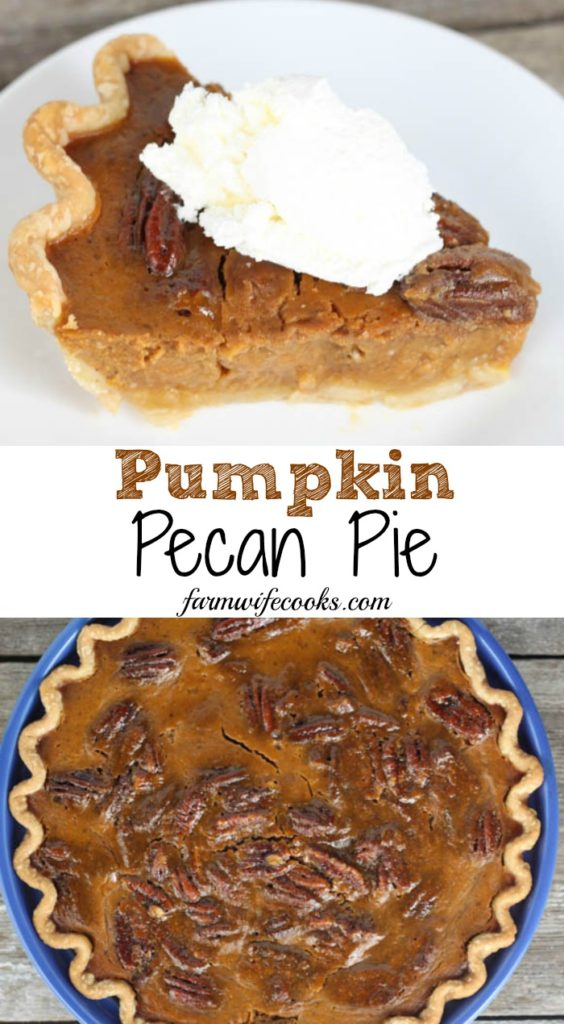 This Pumpkin Pecan Pie is the best of both of the traditional holiday pies, pumpkin and pecan, combined! A must have holiday dessert!