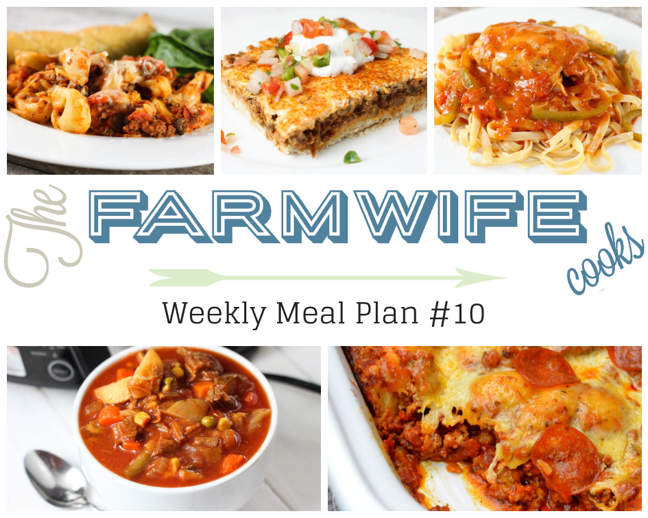 Welcome to this week's meal plan I have a great group of recipes for you this week including; Cheesy Crock Pot Tortellini Casserole,Deep Dish Taco Squares,Instant Pot Chicken Cacciatore, Vegetable Beef Soup, Crock Pot Bubble Up Pizza Casserole,All-American Meatloaf Sandwich, Pork Chops and Baked Beans,Hashbrown Breakfast Casserole, Peaches and Cream French Toast, Chicken Tortellini Caesar Salad, Grilled Sausage and Vegetable Foil Packets, No-Bake Energy Bites, Crock Pot Creamy Chicken Dip, Slow Cooker Pumpkin Pie Pudding and Fresh Blueberry Pound Cake.