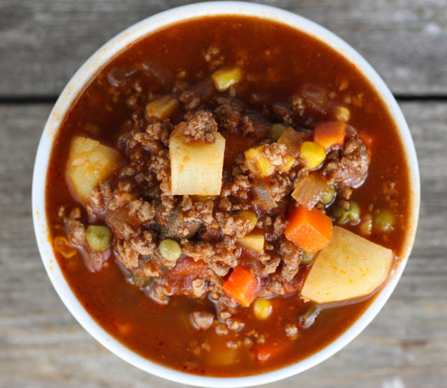 Hamburger Soup is a quick and easy meal idea packed with vegetables, ground beef, beef broth and tomato juice. Hamburger Soup uses ingredients you probably already have at home and it freezes well!