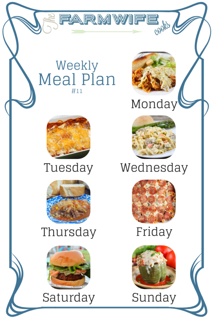Welcome to this week's meal plan I have a great group of recipes for you this week including; Crock Pot Lasagna Casserole, Burrito Style Beef Enchiladas, Crock Pot Cheesy Chicken and Noodles, Instant Pot Beef Vegetable Soup, Pepperoni Pizza Pasta Casserole, Cajun Pork Burgers with Shrimp and Spicy Aioli, Instant Pot Italian Stuffed Peppers, Pumpkin Waffles, Strawberry Cheesecake French Toast Casserole, Greek Chicken Kabobs, Strawberry Spinach Salad, Fiesta Ranch Crackers, Zesty Seasoned Goldfish Crackers, Chocolate Puffs and Pumpkin Sheet Cake with Cream Cheese Icing.