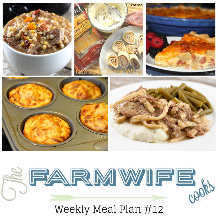 Welcome to this week's meal plan I have a great group of recipes for you this week including; Gramma's Beef Barley Soup, Taco Bake, Crock Pot Beef and Noodles, Crock Pot Low Carb Chicken Tortilla Soup, Pepperoni Pizza Muffins, Ham and Cheese Ranch Wraps, Ham Potato and Cheddar Quiche, Creamed Peas, Overnight Vanilla French Toast, Low-Carb Egg Muffins, Bacon Cheeseburger Roll-Up, Maple Sausage Pigs in a Blanket, Crock Pot Spinach and Artichoke Dip, Crock Pot Beef Enchilada and Rice Dip, Sour Cream Sugar Cookies and Hoosier Sugar Cream Pie.