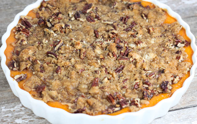 This Sweet Potato Casserole is a classic holiday side dish topped with brown sugar and pecans. A must have at our family gatherings!