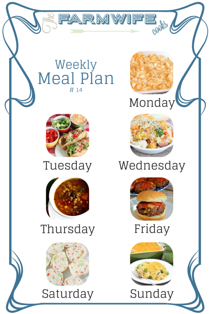 Welcome to this week's meal plan I have a great group of recipes for you this week including; Hot Chicken Salad, Crock Pot Taco Joes, Cheesy Ham & Vegetable Bake, Gramma's Beef Barley Soup, Pepperoni Pizza Burgers, Veggie Tortilla Roll Ups with Crockpot Scalloped Potatoes, Cheesy Chicken Broccoli Rice Casserole, Blueberry French Toast Casserole, Cheeseburger Quiche, Cube Steak Sandwiches, Southwest Fajita Steak Salad, Crock Pot Chicken Enchilada Dip, Sausage and Cheese Stuffed Jalapenos, Pumpkin Pecan Pie and Marshmallow Creme Rice Crispy Treats.