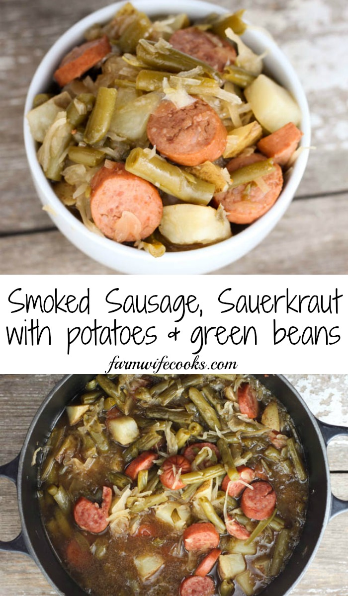 Smoked Sausage, Sauerkraut Stew with Potatoes and Green Beans