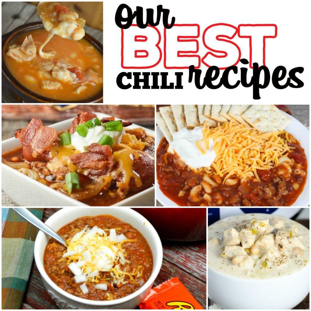 This group of our best chili recipes includes crock pot chili recipes and easy chili recipes like, Meat Lovers Crock Pot Chili, Creamy White Chicken Chili, Easy Chili Mac and more! These recipes are perfect for cold fall and winter days!