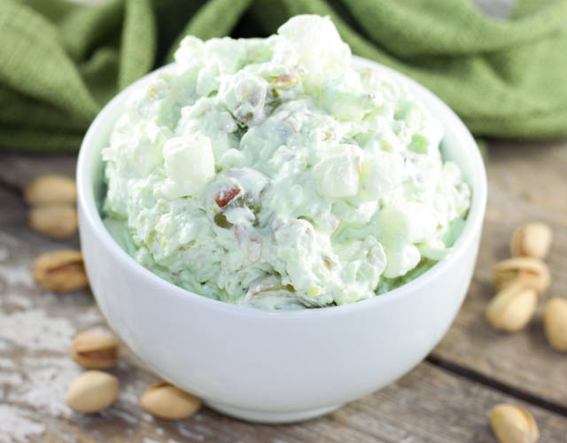 Pistachio Salad is the perfect dessert recipe made with pineapple, marshmallows, cool whip, grapes and pistachio pudding mix.