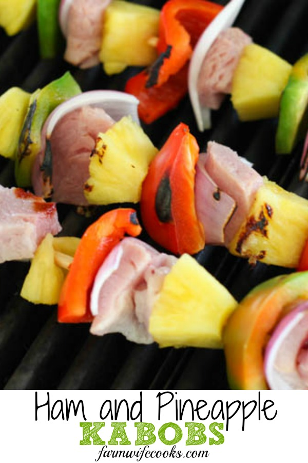 These Grilled Ham and Pineapple Kabobs are an easy summer dinner recipe. The glaze is so yummy making them a perfect recipe for the family!  #grilling #kabob #easyrecipe