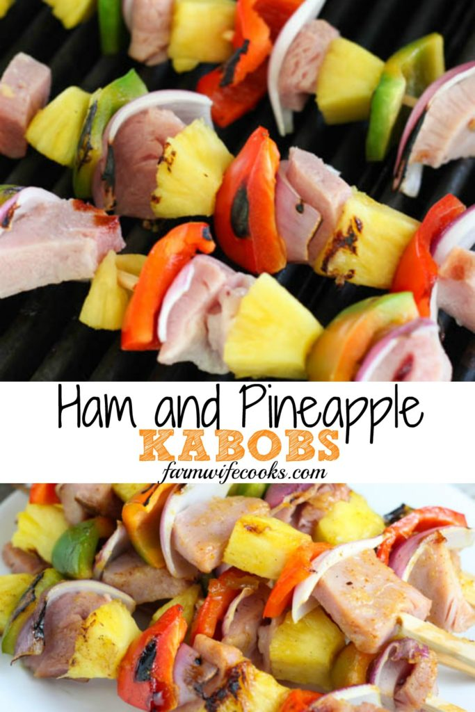 These Grilled Ham and Pineapple Kabobs are a simple and easy twist on the traditional kabob recipe. The glaze is delicious making this recipe an easy summer dinner idea! #grilling #kabob #easyrecipe
